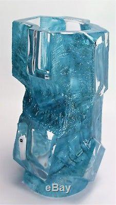 Daum Crystal Vase Argos Cubism Cesar Baldaccini Blue