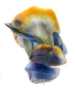 Daum France Pate De Verre Double Fish Handled Vase, Amber to Cobalt Blue Signed
