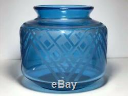 Daum Nancy Blue Art Deco Acid Etched Vase Made in France