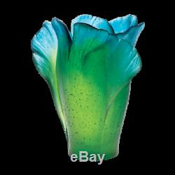 Daum Vase Floral Ginkgo Green and Blue Art Glass Made in France 03410 New