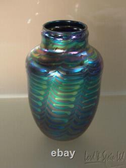 David Lotton Studio Art Glass Blue & Green Zipper Vase