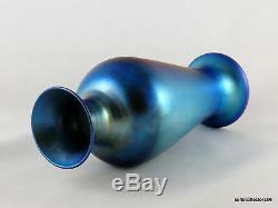 Durand Art Glass 1707 D Iridescent Silver Blue Vase Ca. 1925