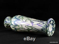 Durand Art Glass 1707 Green and Blue in Opal King Tut Pattern Vase