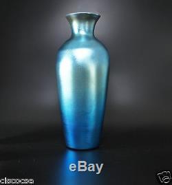 Durand Blue Luster Iridescent Art Glass Vase