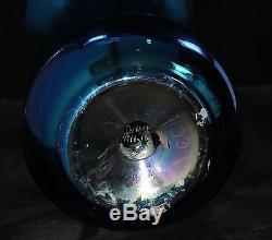 Durand Cobalt Blue Iridescent Monument Trumpet Vase