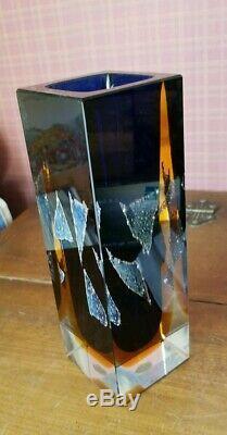 EXBOR Art Glass Vase PAVEL HLAVA Czechoslovakia Czech Silver Chloride
