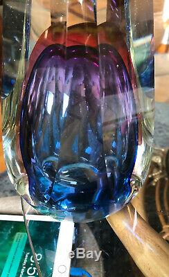 EXCEPTIONAL VTG Murano Italian Art Glass Sommerso Electric Blue Red UFO Vase