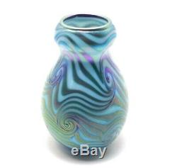 Early Charles Lotton King Tut Iridescent Cabinet Vase 5.5 Signed and Dated 1978