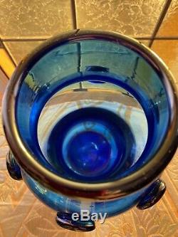 Early Vintage 1959 Blenko Vase # 5935 Cobalt 9 1/4 Blenko Etched Logo 4 Lbs