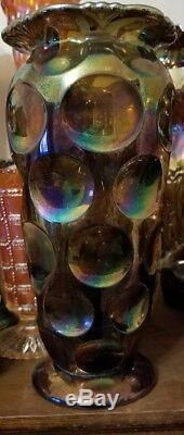 Eda KULOR ANTIQUE CARNIVAL ART GLASS TALL 10 VASEBLUEVERY RARE