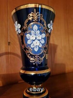 Egermann Hand Blown Cobalt Engraved Crystal 10 Inch Vase With 24k Gold Accents