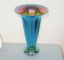 Entrancing IRIDESCENT Interior LUNDBERG ART Glass VASE Ribbed BLUE AURENE 6High