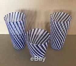 Estate Mid Century Murano Venetian Blue White Ribbon Art Glass Tumbler Vase Trio