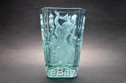 Exquisite Czech Art Deco Alexandrit Glass Vase with Dancing Nudes