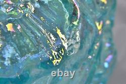 F034 Fenton for Singleton Bailey POPPY SHOW AQUAMARINE Carnival Glass Vase