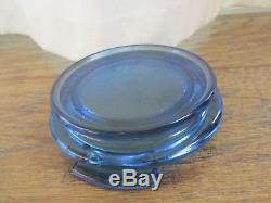 FENTON Art Glass Optic Coin Dot Blue Opalescent 3pc Ginger Jar Vase base lid