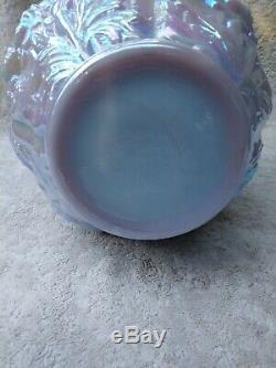 FENTON Blue Burmese carnival Poppy Vase. Scarce
