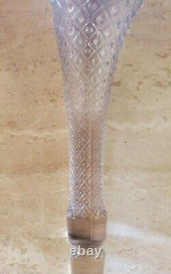 FENTON Blue Opalescent Hobnail Diamond Glass Epergne Bowl 3 Lily Horn Vase