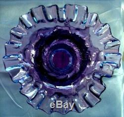 FENTON GLASSXSRC8MULBERRYVINTAGEMINT+PERFc1940sDIAMOND OPTICMELONVASE