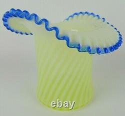 FENTON Spiral Optic VASELINE Opalescent BLUE Ruffled Large Top Hat Vase 7.5