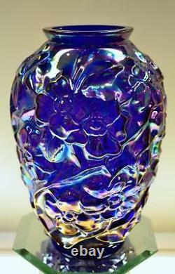 FENTON VASE Cobalt Blue Carnival DOGWOOD 7 inch Vintage FREEusaSHIP