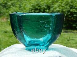 FIRE & LIGHT Originals Recycled Glass Aqua Blue Wide Lipped Vase, Bowl
