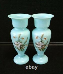 FRENCH BLUE OPALINE Glass Pair of Vase Handpainted 7 7/8