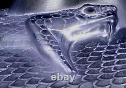 Famous vase Rene Lalique Serpent dazur. Sandblasted light blue glass