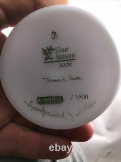 Fenton 2006 4 Four Seasons Winter Blue Burmese Vase Ltd Ed #999/1500 Signed