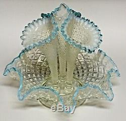Fenton 3-Horn Epergne Diamond Lace Aqua Blue Crest French Opalescent Large