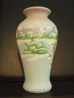 Fenton 4 Four Seasons Winter Blue Burmese Vase Ltd Ed #885/1500