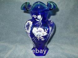 Fenton 75th Anniversary Cobalt Blue Vase-signed By Bill Fenton-hand Painted