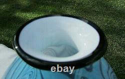 Fenton Art Glass 2004 Dave Fetty OOAK Blue/Violet Pulled Swirl Vase 8Hx7W Rare