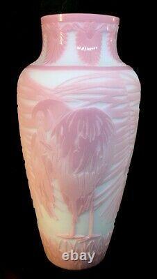 Fenton Art Glass Cameo Flamingos On Blue Burmese Kelsey Murphy LIMITED 17 Of 50