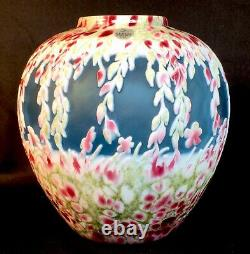 Fenton Art Glass Dave Fetty / Kelsey Murphy Cameo Carved Vase LIMITED to 295