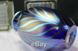 Fenton Art Glass FAVRENE FEATHERS Pulled Feather DAVE FETTY Factory Vase