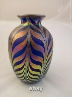 Fenton Art Glass FAVRENE FEATHERS Pulled Feather DAVE FETTY VASE Limited