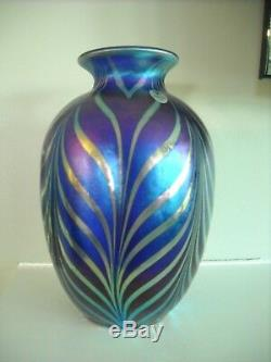 Fenton Art Glass FAVRENE FEATHERS Pulled Feather DAVE FETTY VASE Limited Edition