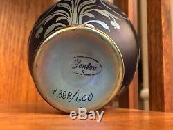 Fenton Art Glass Favrene Sand Carved Glass Jar Vase /Lid Limited Edition 388/600