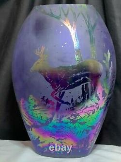 Fenton Art Glass Favrene artist signed Stag vase sand carved