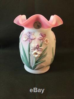 Fenton Art Glass Hand Painted Blue Burmese Daffodil Vase Signed Scott Fenton