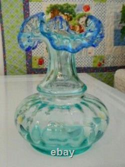 Fenton Art Glass Vase 1999 Qvc Aquamarine Rib Optic Cobalt Edge HP Floral
