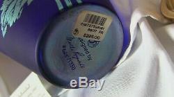 Fenton Art Vase Connoisseur Favrene Daisy 1997 CoBalt Blue Opalescent Limit 1350