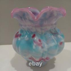 Fenton BLUE BURMESE PELOTON Treatment Vase PERFECT
