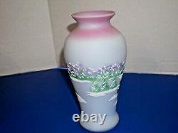 Fenton Blue Burmese 4 Seasons Winter Vase handpainted Path Rustic Country Barn