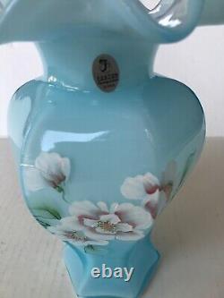 Fenton Blue Flowers Vase Shelley and George Fenton Signed S Hopkins Ruffle 8.5