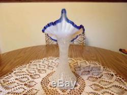 Fenton Blue Ridge Crest Tulip Jack In The Pulpit Dot Optic Vase