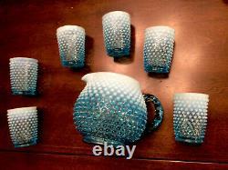 Fenton Blue/white Opalescent Hobnail Juice Set Pitcher + 6 Glasses