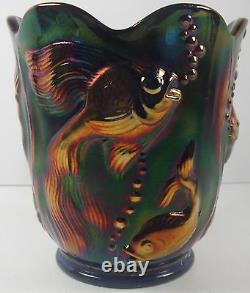 Fenton Carnival Glass Vase in Beautiful Deep Cobalt Blue With Embossed Angel Fish