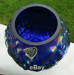Fenton Cobalt Blue Carnival Glass DOGWOOD Vase 7.25H MINTBeautiful RARE
